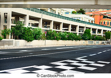 Starting grid and pit lane asphalt on Monaco Montecarlo race...