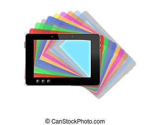 black tablet with motley multicolored shadows - black tablet...