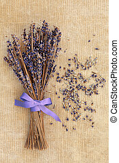 Lavender Posy - Lavender flower posy over old brown paper...