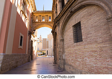 Valencia corridor arch between Cathedral and Basilica Spain...