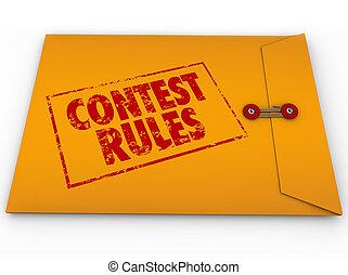 Competição, Regras, classificado, envelope,...