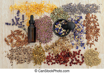 Alternative Medicine - Herbal medicine selection also used...