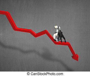 Pushing and moving up 3d money symbol on red arrow