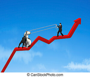Businessmen moving up 3d money symbol on growing red arrow...