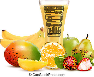 Fresh fruit and a glass of juice with a nutrition facts label. Vector illustration