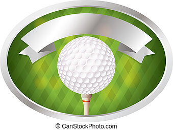 Golf Emblem - An illustration of a golf ball on tee emblem...