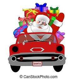 santa in his car isolated