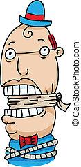 Gagged Man - A gagged cartoon man.