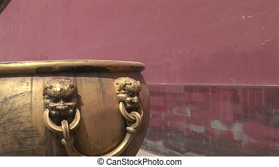 Lion Head Detail on Chinese Pot - Zoom out shot of Lion Head...