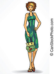 Beach look Elegant woman in beach dress and with bag Cartoon...