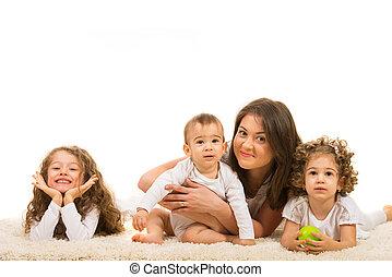feliz, niños, tres, madre