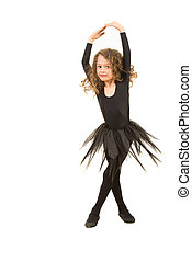 Little dancer girl twirl isolated on white background