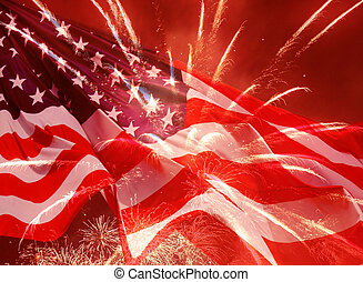 fireworks over United States flag - fireworks over waved...