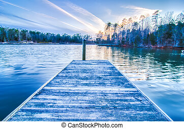 sunset over lake wylie at a dock