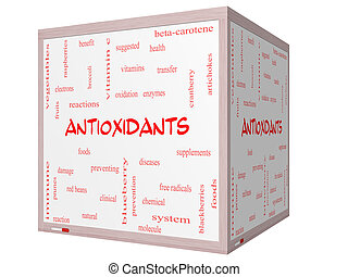 Antioxidants Word Cloud Concept on a 3D cube Whiteboard