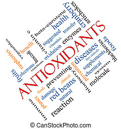 antioxidantes, palabra, nube, concepto, angular