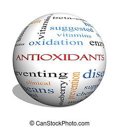 Antioxidants 3D sphere Word Cloud Concept