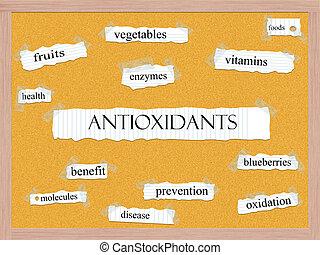 Antioxidants Corkboard Word Concept