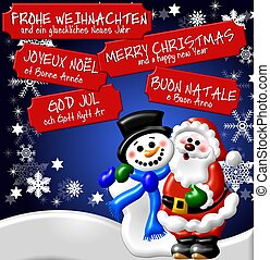 multilingual christmas card background