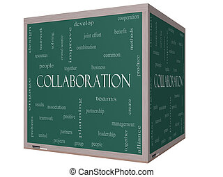 Collaboration Word Cloud Concept on a 3D cube Blackboard...