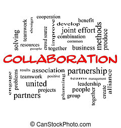 Collaboration Word Cloud Concept in red caps