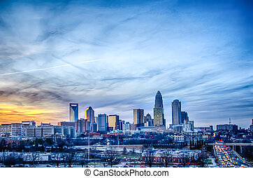 sunset over city of charlotte nc - sunset over city of...