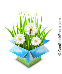 Spring surprise - Abstract concept with box and nature...