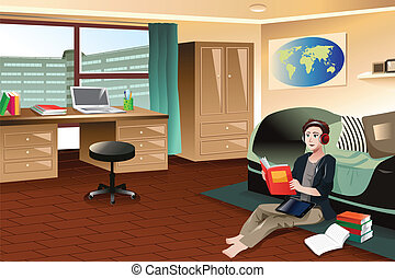 College student studying in dorm - A vector illustration of...