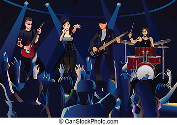 People in a concert - A vector illustration people in a...