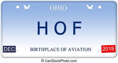 HOF Ohio Imitation License Plate