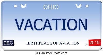 Vacation Ohio Imitation License Plate