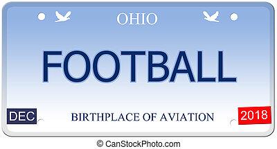 Football Ohio Imitation License Plate