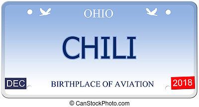 Chili Ohio Imitation License Plate