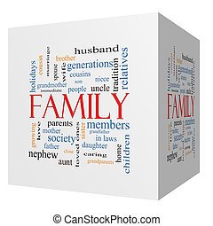 Family 3D cube Word Cloud Concept with great terms such as...