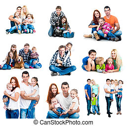 happy families - set photos of a happy smiling families with...