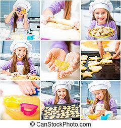 little girl preparing cookies set