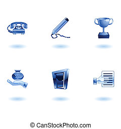 Glossy Business and Office Icon Set