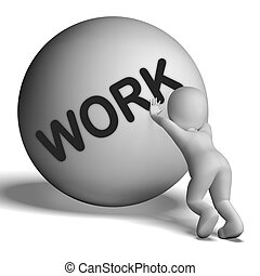 Work Uphill Character Shows Difficult Working Labour - Work...