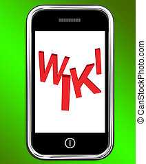 Wiki On Phone Showing Online Information Knowledge Or Encyclopaedia