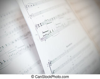 Written Music Notation Sheet With Shallow Depth Of Field