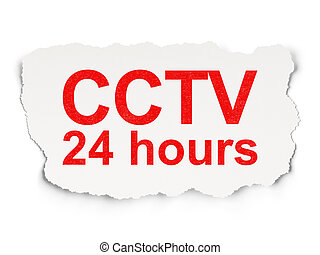 Security concept: CCTV 24 hours on Paper background -...