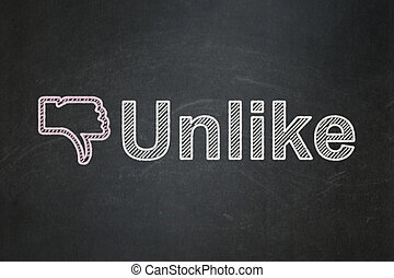 Social network concept: Thumb Down and Unlike on chalkboard...
