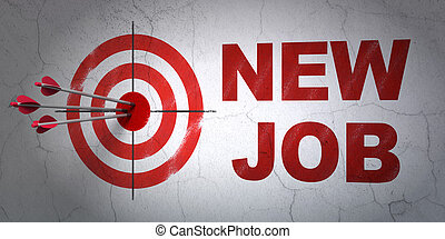 Finance concept: target and New Job on wall background -...
