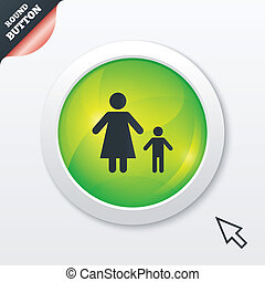 One-parent family with one child sign icon Mother with son...