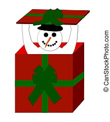 snowman in giftbox