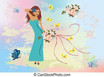 girl with flowers,