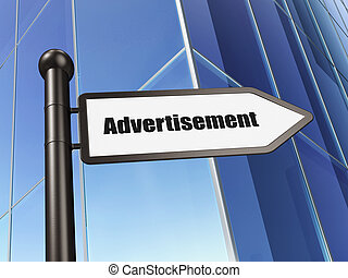 Marketing concept: sign Advertisement on Building background