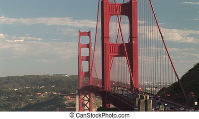 Golden Gate Bridge - Traffic along the Golden Gate Bridge,...