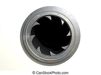 Round Portal Futuristic Door - A futuristic round mechanical...