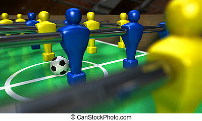Foosball Table Closeup - A foosball table at ground level...
